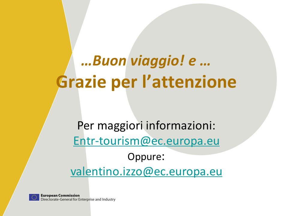 …Buon viaggio! e … Grazie per lattenzione Per maggiori informazioni: Entr-tourism@ec.europa.eu Oppure : valentino.izzo@ec.europa.eu