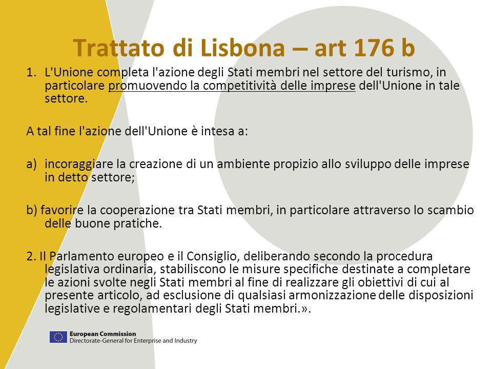 Trattato di Lisbona – art 176 b 1.L'Unione completa l'azione degli Stati membri nel settore del turismo, in particolare promuovendo la competitività d