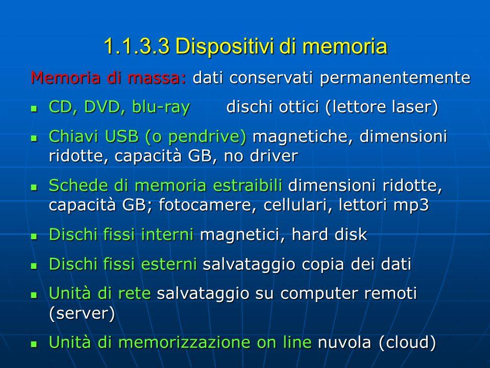 1.1.3.3 Dispositivi di memoria Memoria di massa: dati conservati permanentemente CD, DVD, blu-raydischi ottici (lettore laser) CD, DVD, blu-raydischi