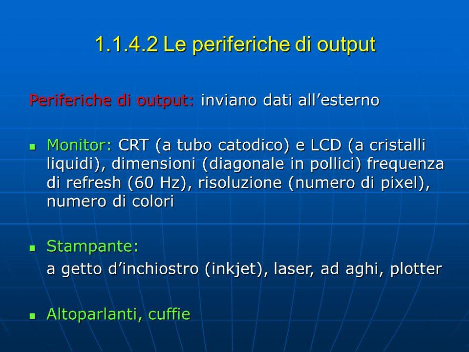 1.1.4.2 Le periferiche di output Periferiche di output: inviano dati allesterno Monitor: CRT (a tubo catodico) e LCD (a cristalli liquidi), dimensioni