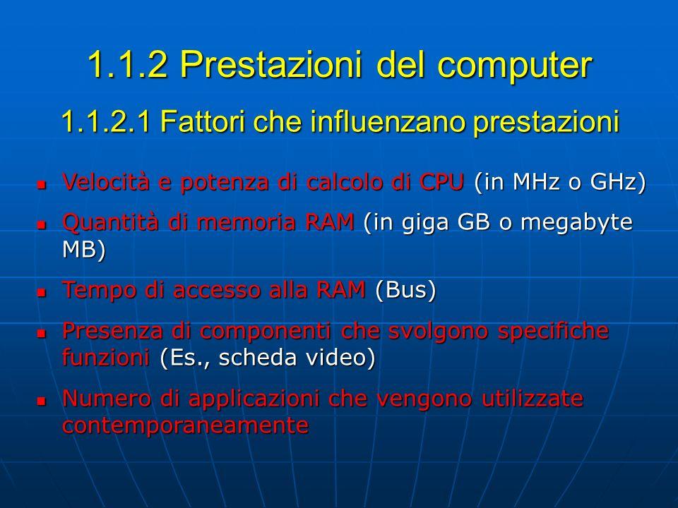 1.1.2.1 Fattori che influenzano prestazioni Velocità e potenza di calcolo di CPU (in MHz o GHz) Velocità e potenza di calcolo di CPU (in MHz o GHz) Qu