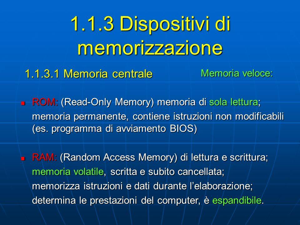 1.1.3.2 Come viene misurata la memoria Unità di misura della memoria: Unità di misura della memoria: I dati sono rappresentati con sequenze di 0 e 1 (cifre binarie) bit: singola cifra binaria, 0 o 1 La capacità della memoria si misura in byte: byte: pacchetto di 8 bit, un carattere alfanumerico kB (chilobyte) = 10 3 byteMB (megabyte) = 10 6 byte GB (gigabyte) = 10 9 byteTB (terabyte) = 10 12 byte