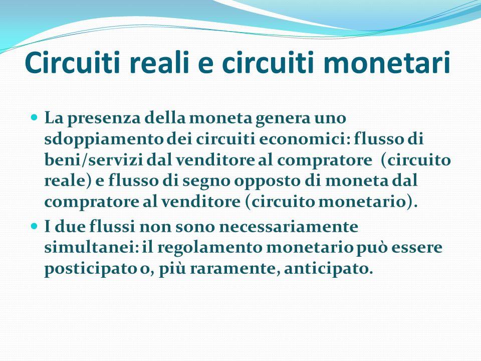 Circuiti reali e circuiti monetari La presenza della moneta genera uno sdoppiamento dei circuiti economici: flusso di beni/servizi dal venditore al co