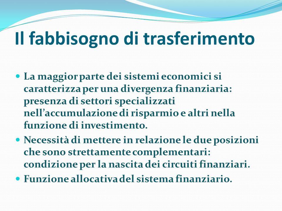 Il fabbisogno di trasferimento La maggior parte dei sistemi economici si caratterizza per una divergenza finanziaria: presenza di settori specializzat