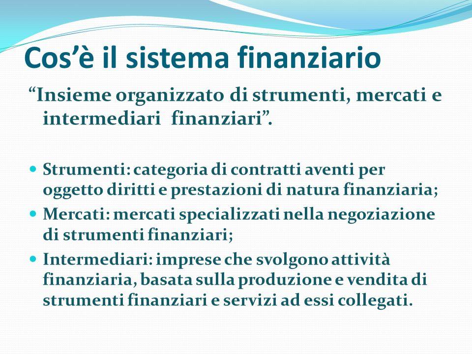 Cosè il sistema finanziario Insieme organizzato di strumenti, mercati e intermediari finanziari. Strumenti: categoria di contratti aventi per oggetto