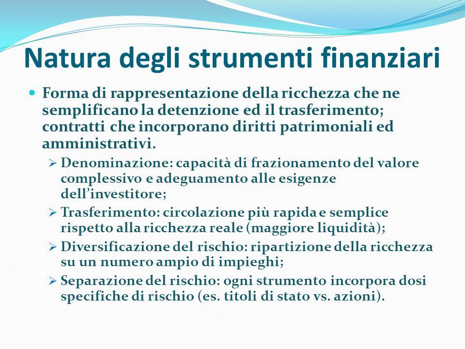 Natura degli strumenti finanziari Forma di rappresentazione della ricchezza che ne semplificano la detenzione ed il trasferimento; contratti che incor