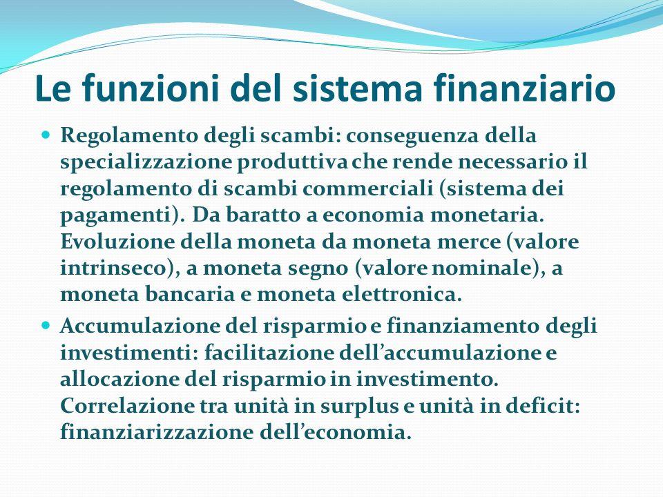 Le funzioni del sistema finanziario Regolamento degli scambi: conseguenza della specializzazione produttiva che rende necessario il regolamento di sca