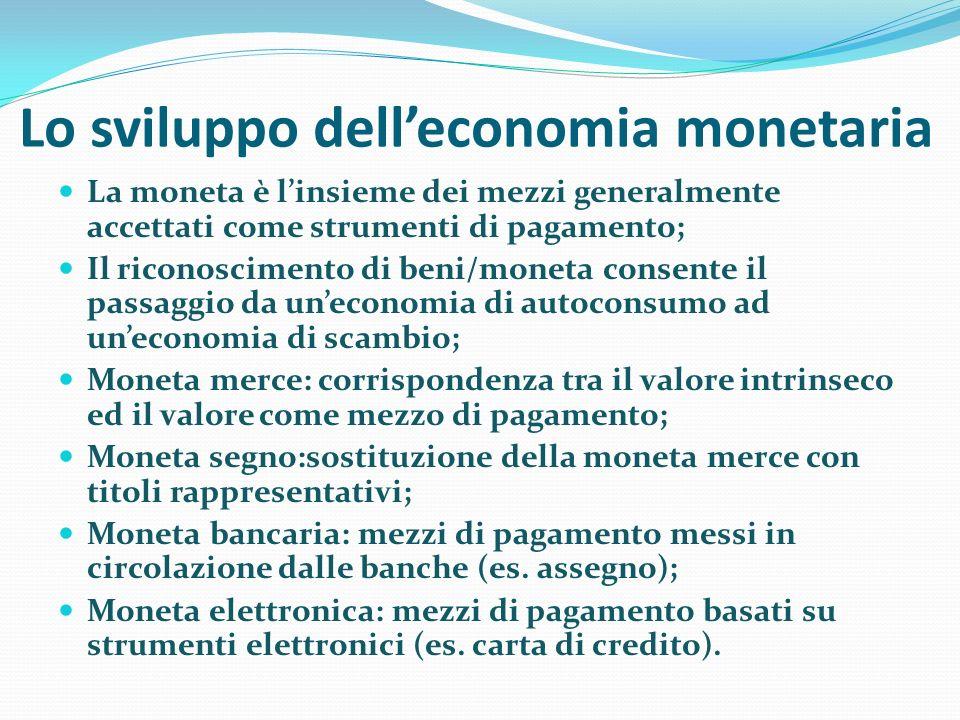 Lo sviluppo delleconomia monetaria La moneta è linsieme dei mezzi generalmente accettati come strumenti di pagamento; Il riconoscimento di beni/moneta