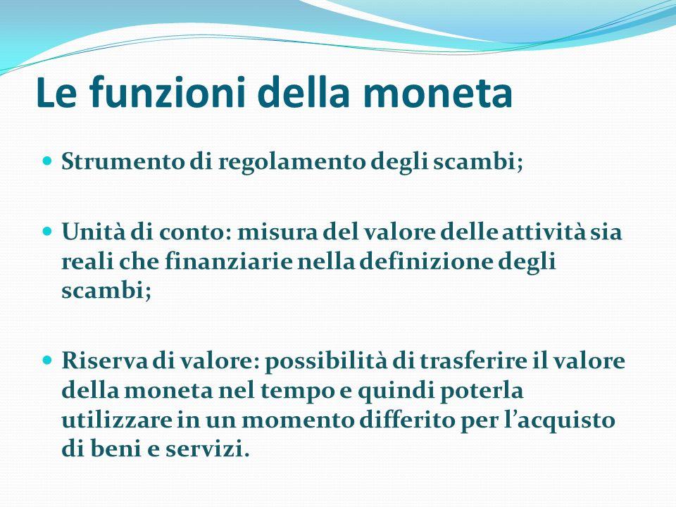 Le funzioni della moneta Strumento di regolamento degli scambi; Unità di conto: misura del valore delle attività sia reali che finanziarie nella defin