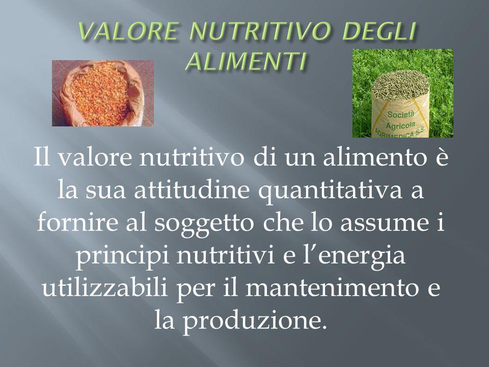 Il valore nutritivo di un alimento è la sua attitudine quantitativa a fornire al soggetto che lo assume i principi nutritivi e lenergia utilizzabili p
