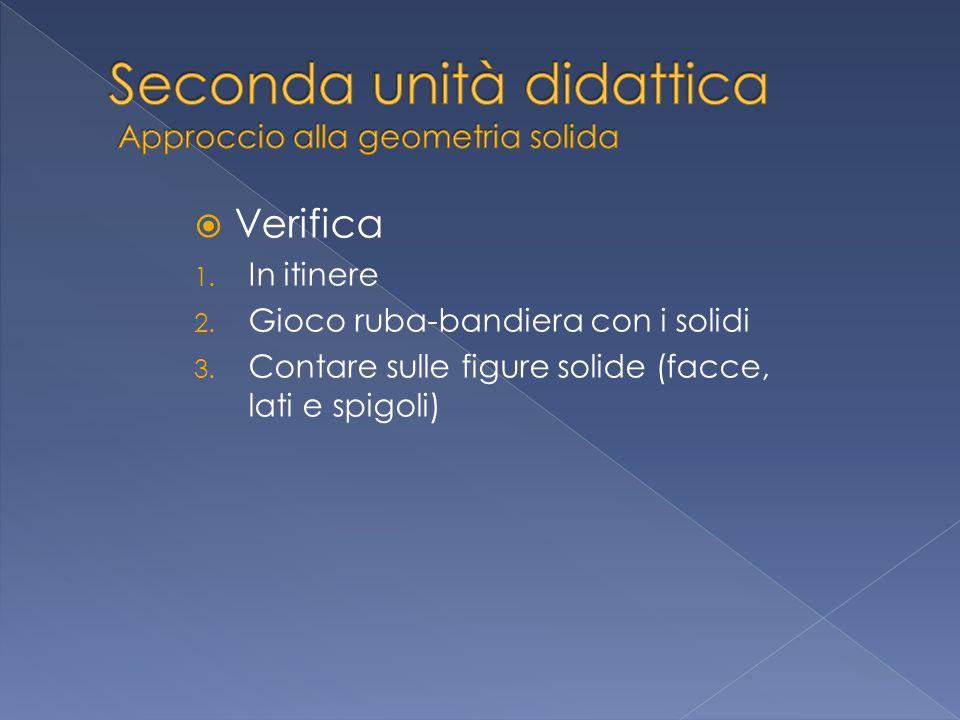 Verifica 1.In itinere 2. Gioco ruba-bandiera con i solidi 3.