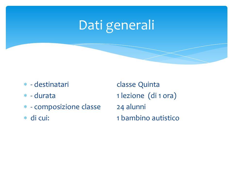 - destinatariclasse Quinta - durata1 lezione (di 1 ora) - composizione classe24 alunni di cui: 1 bambino autistico Dati generali