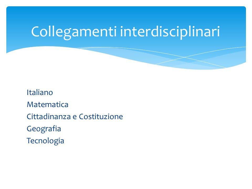 Italiano Matematica Cittadinanza e Costituzione Geografia Tecnologia Collegamenti interdisciplinari