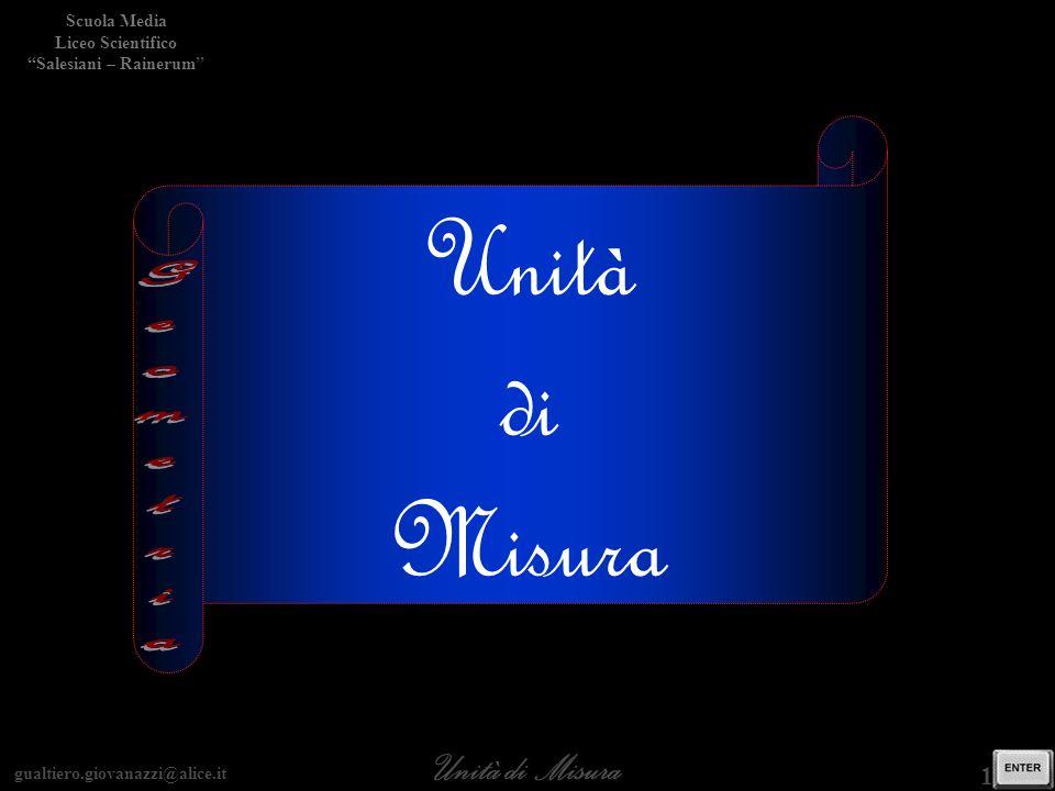 gualtiero.giovanazzi@alice.it Unità di Misura Scuola Media Liceo Scientifico Salesiani – Rainerum 1 / 15 Unità di Misura