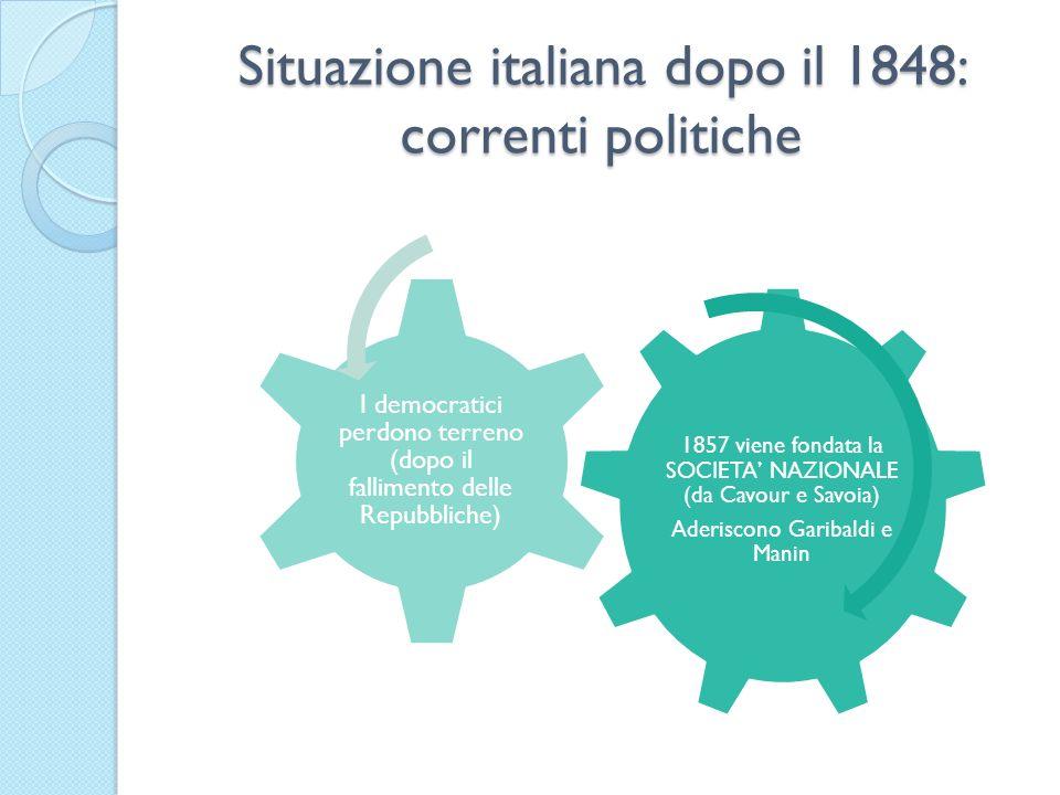 Situazione italiana dopo il 1848: correnti politiche 1857 viene fondata la SOCIETA NAZIONALE (da Cavour e Savoia) Aderiscono Garibaldi e Manin I democ