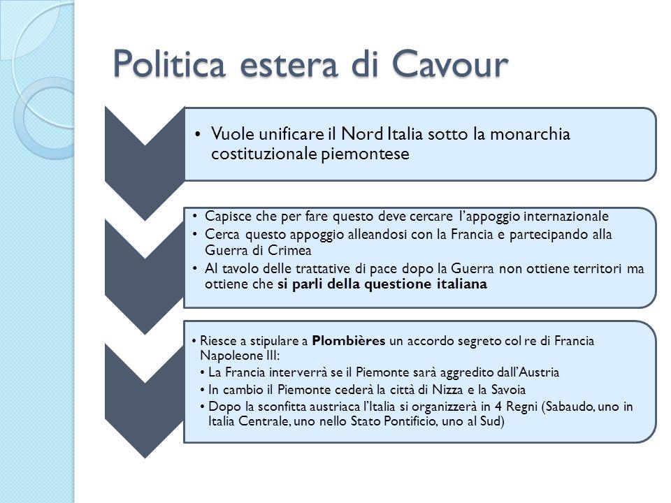 Politica estera di Cavour Vuole unificare il Nord Italia sotto la monarchia costituzionale piemontese Capisce che per fare questo deve cercare lappogg