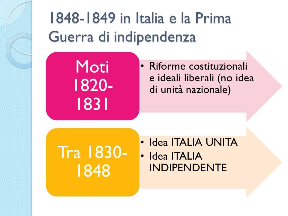 1848-1849 in Italia e la Prima Guerra di indipendenza Riforme costituzionali e ideali liberali (no idea di unità nazionale) Moti 1820- 1831 Idea ITALI