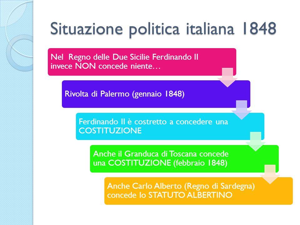Situazione politica italiana 1848 Nel Regno delle Due Sicilie Ferdinando II invece NON concede niente… Rivolta di Palermo (gennaio 1848) Ferdinando II