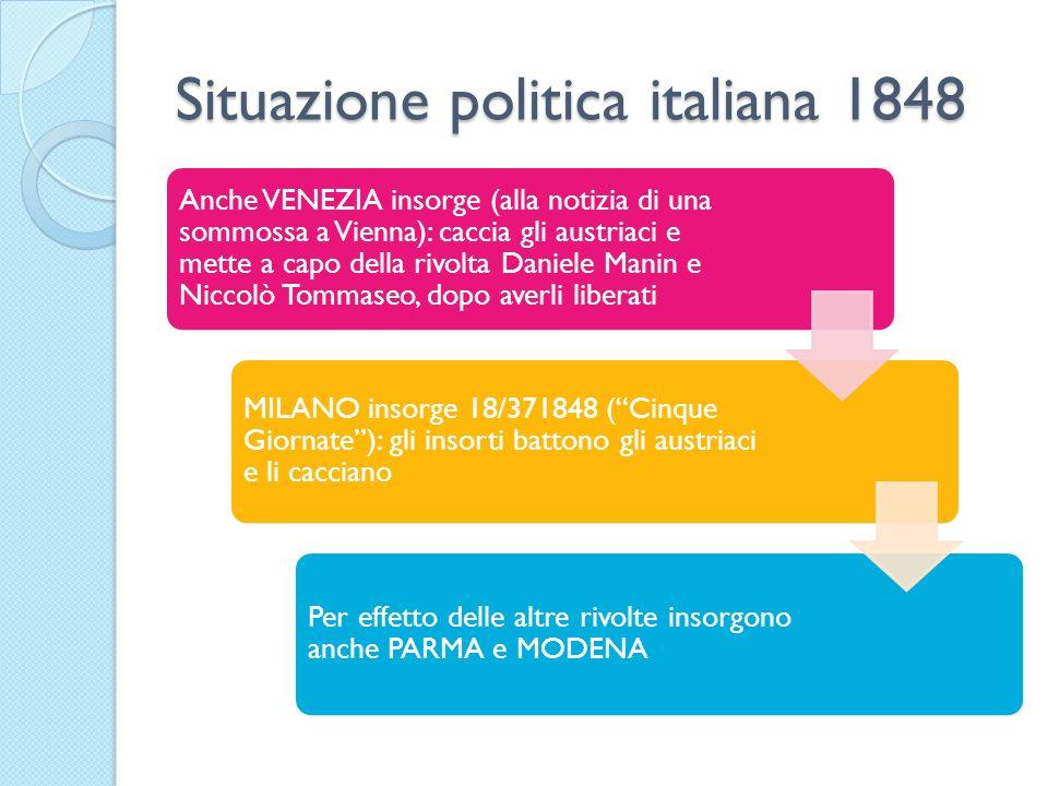 Situazione politica italiana 1848 Anche VENEZIA insorge (alla notizia di una sommossa a Vienna): caccia gli austriaci e mette a capo della rivolta Dan