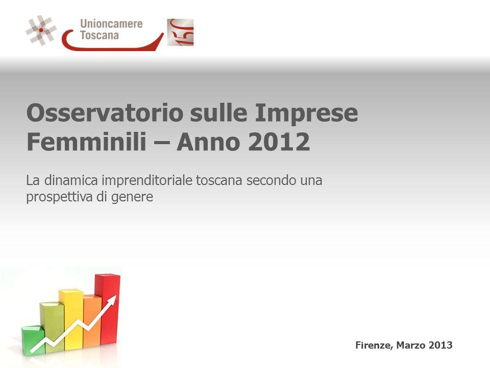 Osservatorio sulle Imprese Femminili – Anno 2012 La dinamica imprenditoriale toscana secondo una prospettiva di genere Firenze, Marzo 2013