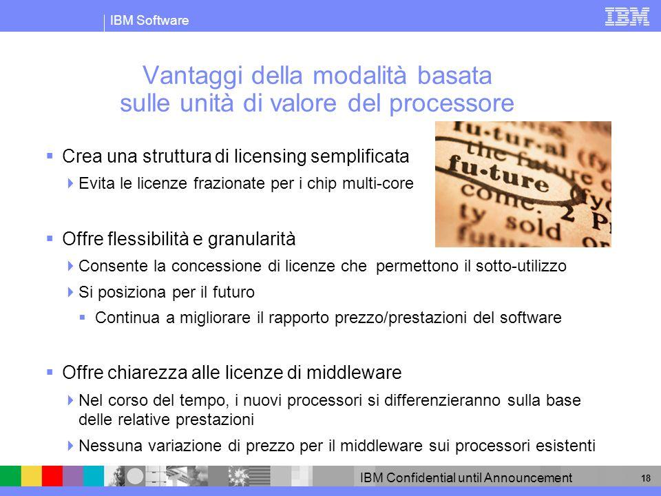 IBM Software IBM Confidential until Announcement 19 Vostro nome Vostra qualifica Licenze basate sulle unità di valore del processore per il middleware