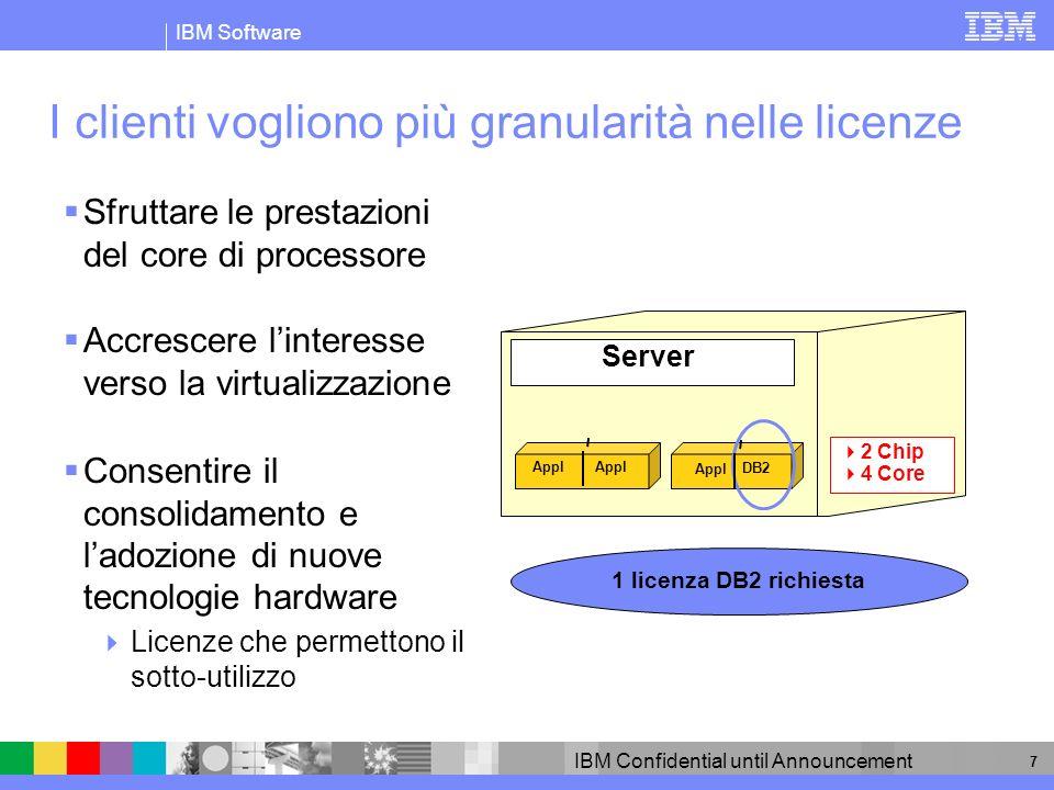 IBM Software IBM Confidential until Announcement 8 I fornitori di software differenziano per tipo di processore......