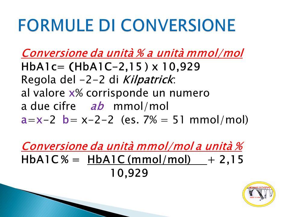 Conversione da unità % a unità mmol/mol HbA1c= ( HbA1C-2,15 ) x 10,929 Regola del -2-2 di Kilpatrick: al valore x% corrisponde un numero a due cifre a
