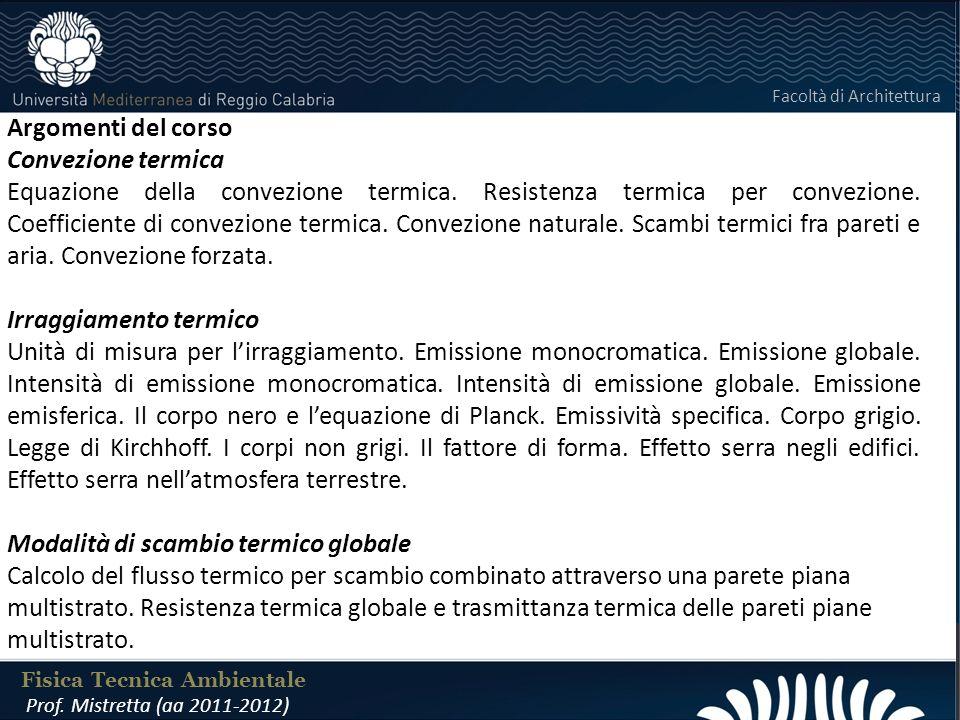 LABORATORIO DI COSTRUZIONI 25 FEBBRAIO 2011 Argomenti del corso Convezione termica Equazione della convezione termica.