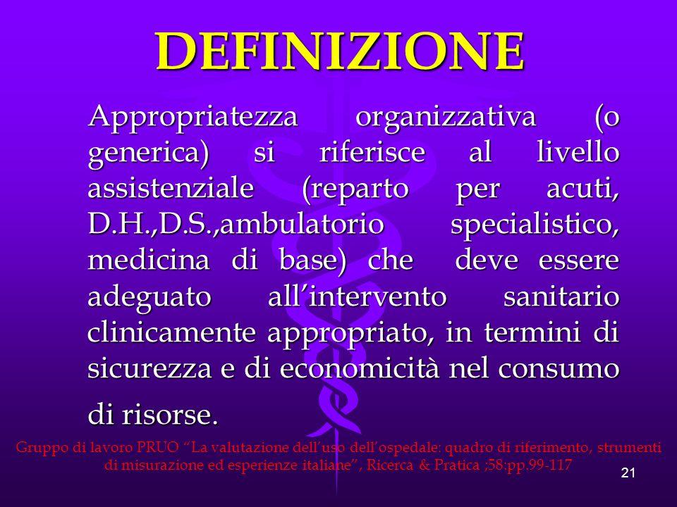 21 Appropriatezza organizzativa (o generica) si riferisce al livello assistenziale (reparto per acuti, D.H.,D.S.,ambulatorio specialistico, medicina di base) che deve essere adeguato allintervento sanitario clinicamente appropriato, in termini di sicurezza e di economicità nel consumo di risorse.