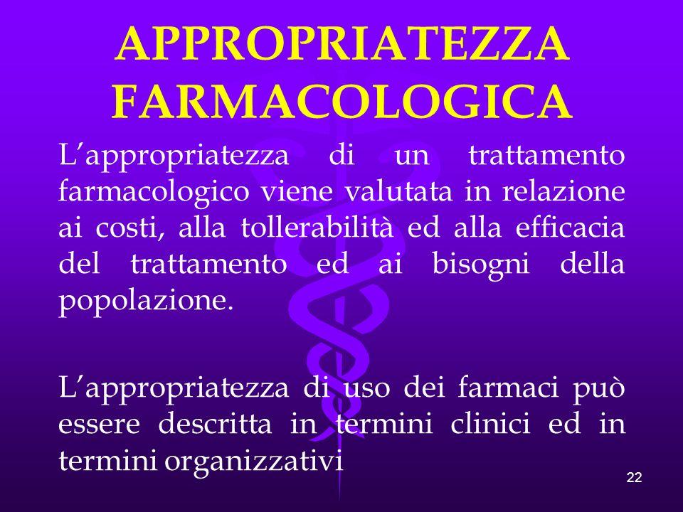22 APPROPRIATEZZA FARMACOLOGICA Lappropriatezza di un trattamento farmacologico viene valutata in relazione ai costi, alla tollerabilità ed alla efficacia del trattamento ed ai bisogni della popolazione.