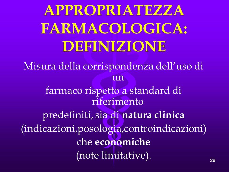 26 APPROPRIATEZZA FARMACOLOGICA: DEFINIZIONE Misura della corrispondenza delluso di un farmaco rispetto a standard di riferimento predefiniti, sia di natura clinica (indicazioni,posologia,controindicazioni) che economiche (note limitative).