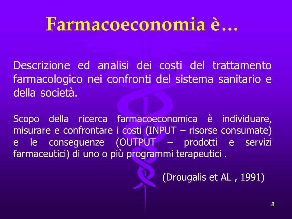 8 Farmacoeconomia è… Descrizione ed analisi dei costi del trattamento farmacologico nei confronti del sistema sanitario e della società.