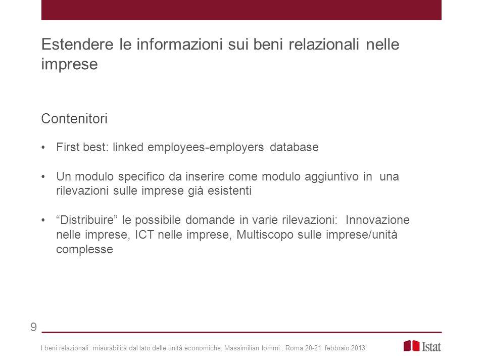 Contenitori First best: linked employees-employers database Un modulo specifico da inserire come modulo aggiuntivo in una rilevazioni sulle imprese gi