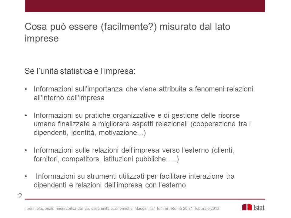 Se lunità statistica è limpresa: Informazioni sullimportanza che viene attribuita a fenomeni relazioni allinterno dellimpresa Informazioni su pratiche