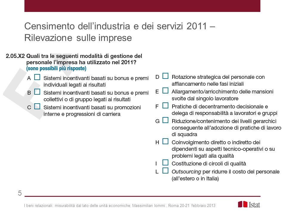 I beni relazionali: misurabilità dal lato delle unità economiche, Massimilian Iommi, Roma 20-21 febbraio 2013 Censimento dellindustria e dei servizi 2011 – Rilevazione sulle imprese 5