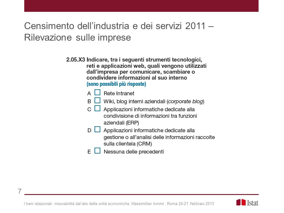 I beni relazionali: misurabilità dal lato delle unità economiche, Massimilian Iommi, Roma 20-21 febbraio 2013 Censimento dellindustria e dei servizi 2011 – Rilevazione sulle imprese 7