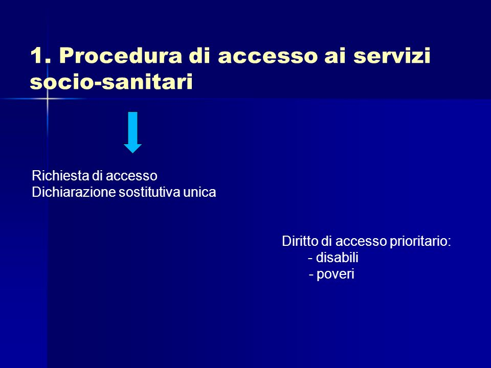 1. Procedura di accesso ai servizi socio-sanitari Richiesta di accesso Dichiarazione sostitutiva unica Diritto di accesso prioritario: - disabili - po