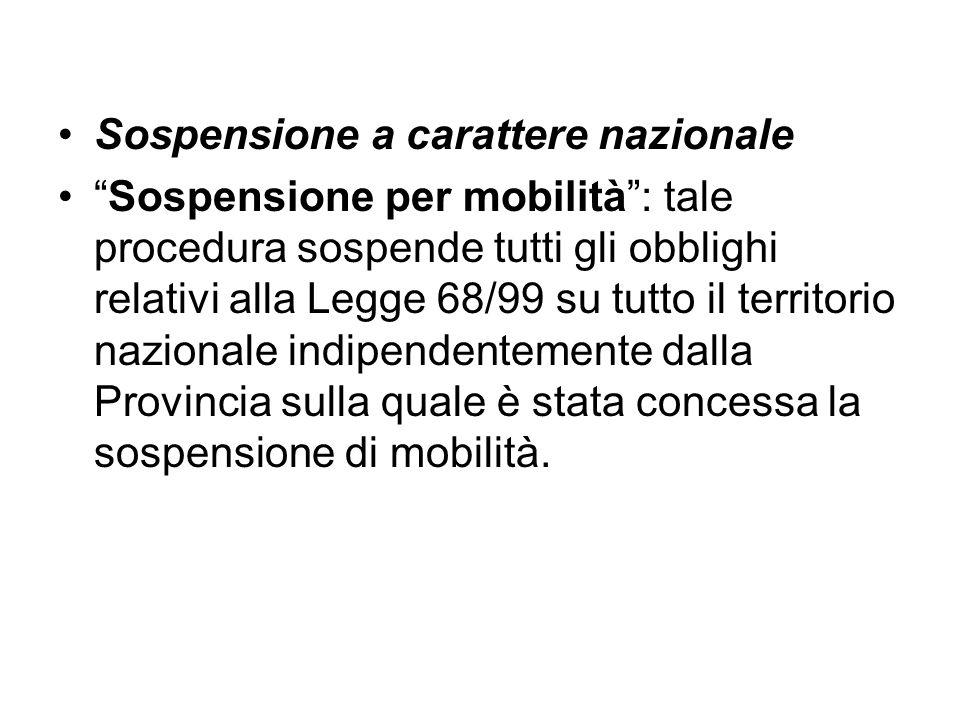 Sospensione a carattere nazionale Sospensione per mobilità: tale procedura sospende tutti gli obblighi relativi alla Legge 68/99 su tutto il territori