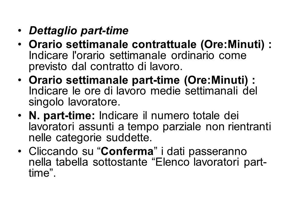 Dettaglio part-time Orario settimanale contrattuale (Ore:Minuti) : Indicare l'orario settimanale ordinario come previsto dal contratto di lavoro. Orar