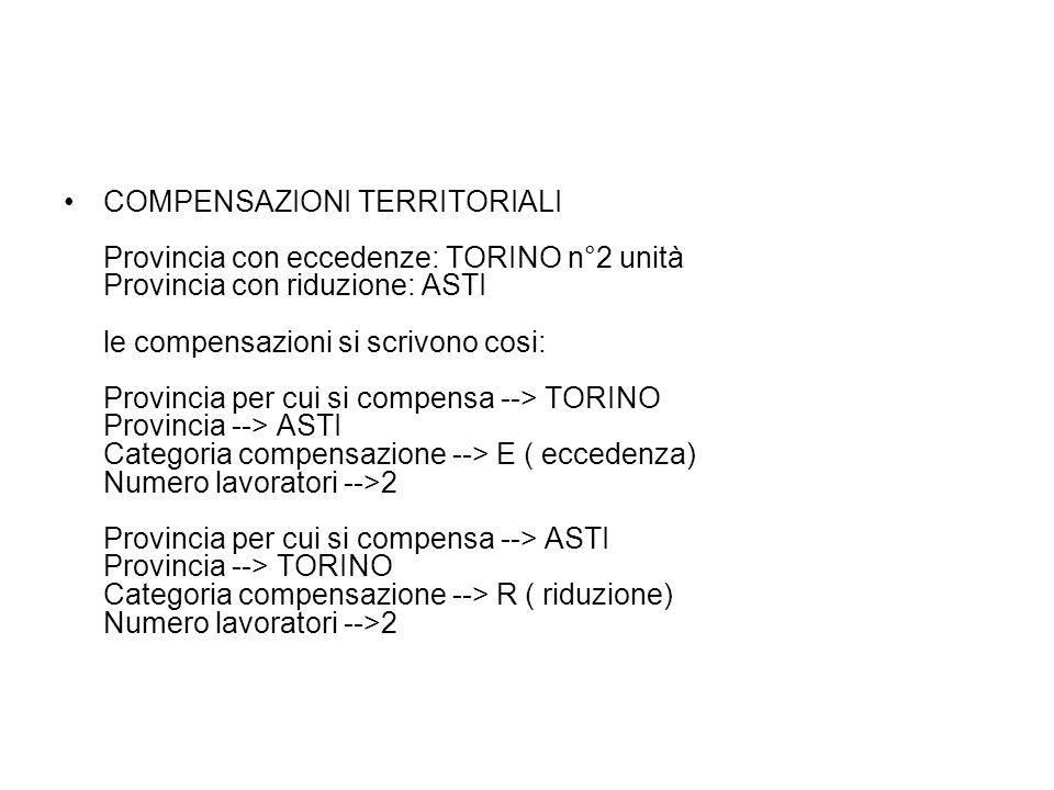 COMPENSAZIONI TERRITORIALI Provincia con eccedenze: TORINO n°2 unità Provincia con riduzione: ASTI le compensazioni si scrivono cosi: Provincia per cu