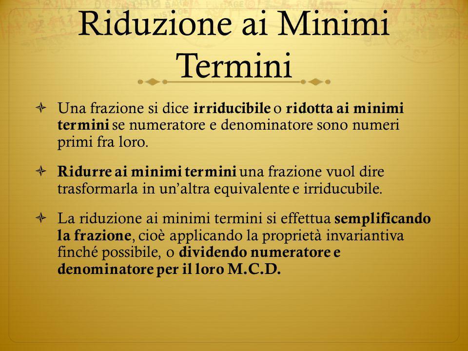 Riduzione ai Minimi Termini Una frazione si dice irriducibile o ridotta ai minimi termini se numeratore e denominatore sono numeri primi fra loro. Rid