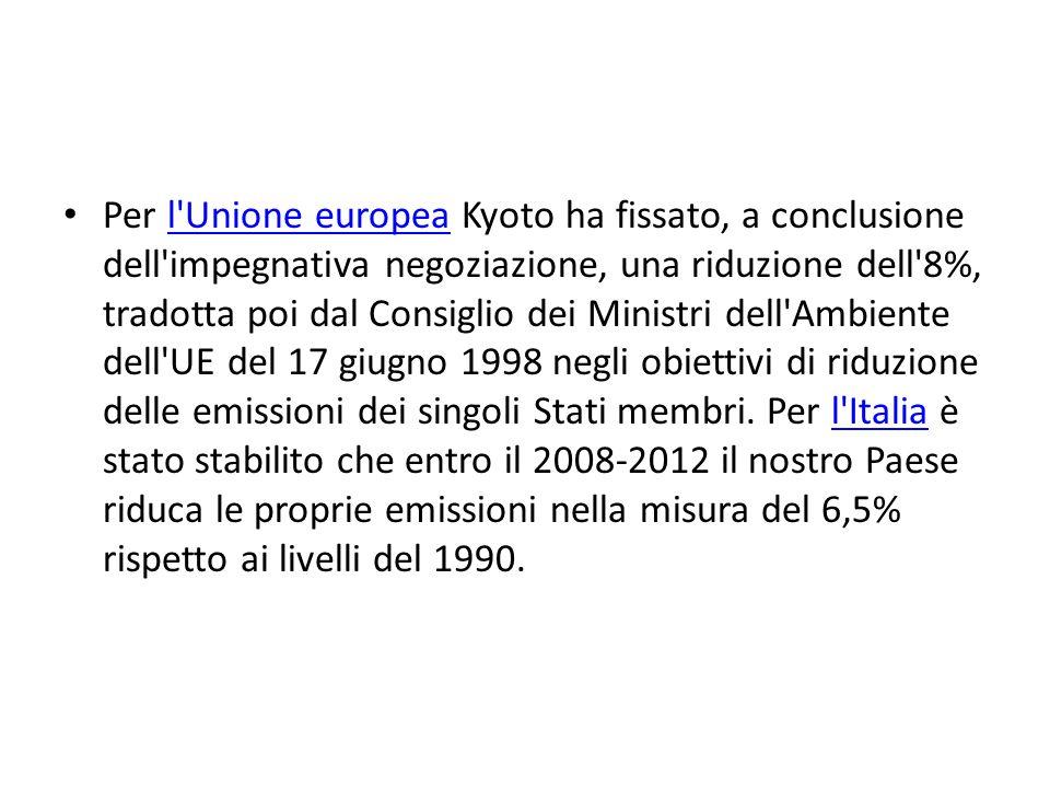 Per l Unione europea Kyoto ha fissato, a conclusione dell impegnativa negoziazione, una riduzione dell 8%, tradotta poi dal Consiglio dei Ministri dell Ambiente dell UE del 17 giugno 1998 negli obiettivi di riduzione delle emissioni dei singoli Stati membri.