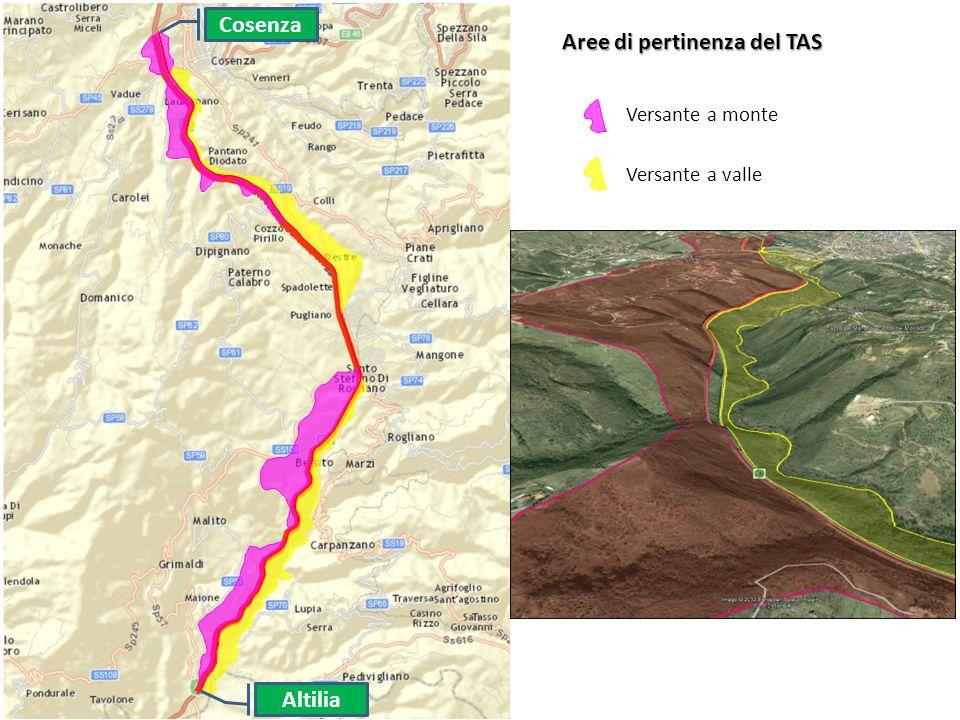 Cosenza Altilia Aree di pertinenza del TAS Versante a monte Versante a valle