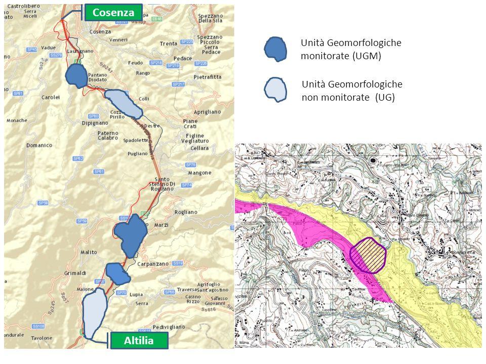Cosenza Altilia Unità Geomorfologiche monitorate (UGM) Unità Geomorfologiche non monitorate (UG)