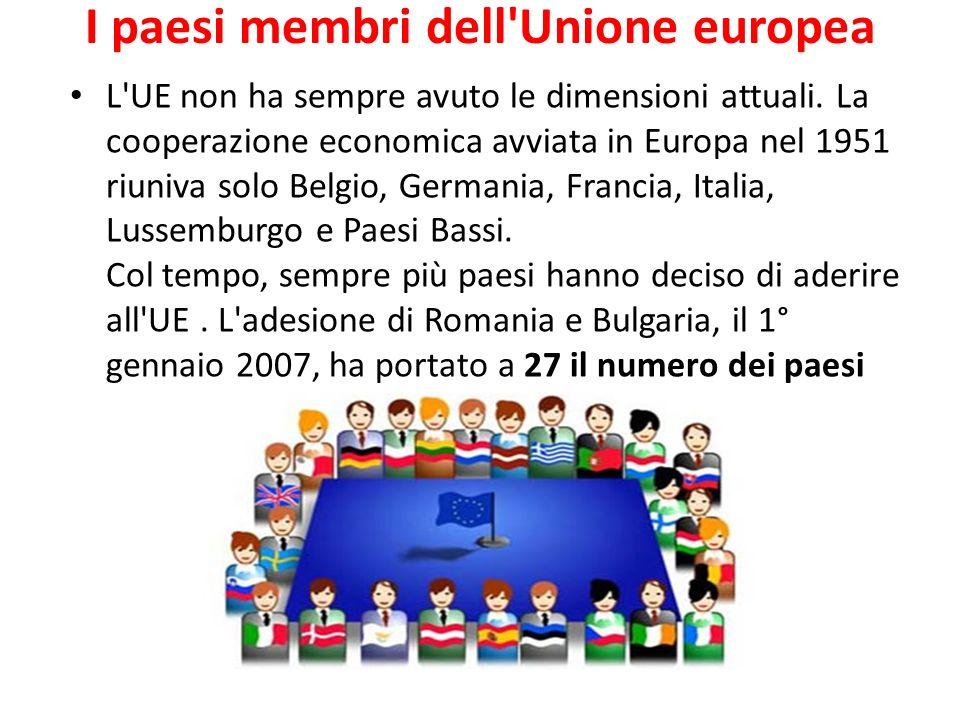 I paesi membri dell'Unione europea L'UE non ha sempre avuto le dimensioni attuali. La cooperazione economica avviata in Europa nel 1951 riuniva solo B