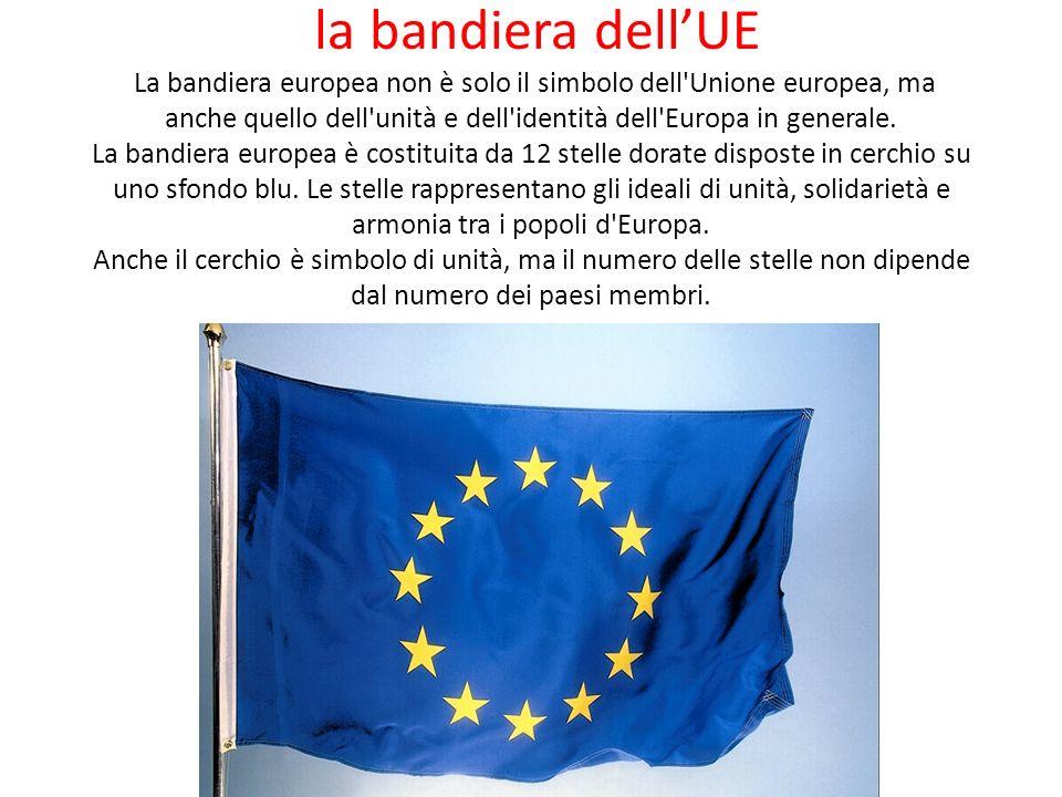 la bandiera dellUE La bandiera europea non è solo il simbolo dell'Unione europea, ma anche quello dell'unità e dell'identità dell'Europa in generale.