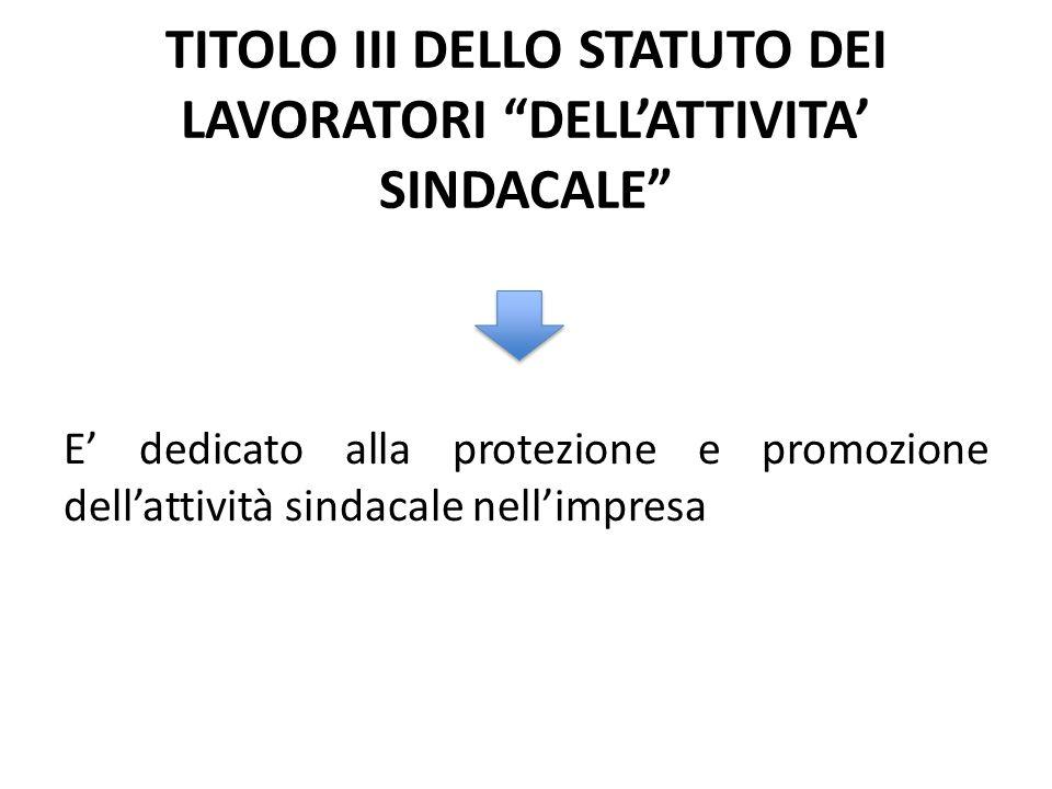 TITOLO III DELLO STATUTO DEI LAVORATORI DELLATTIVITA SINDACALE E dedicato alla protezione e promozione dellattività sindacale nellimpresa
