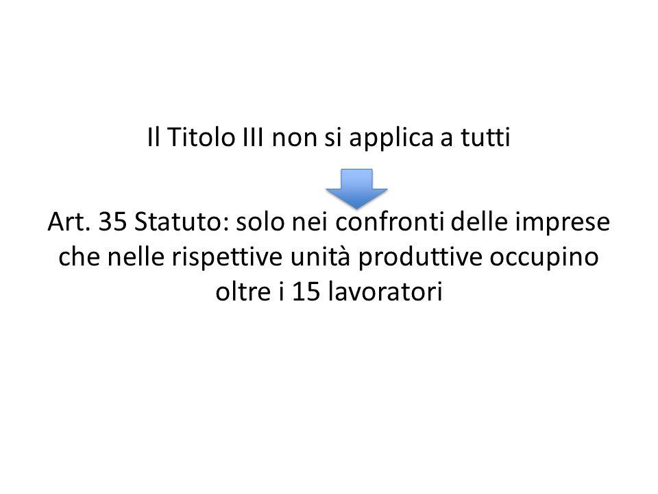 Il Titolo III non si applica a tutti Art. 35 Statuto: solo nei confronti delle imprese che nelle rispettive unità produttive occupino oltre i 15 lavor