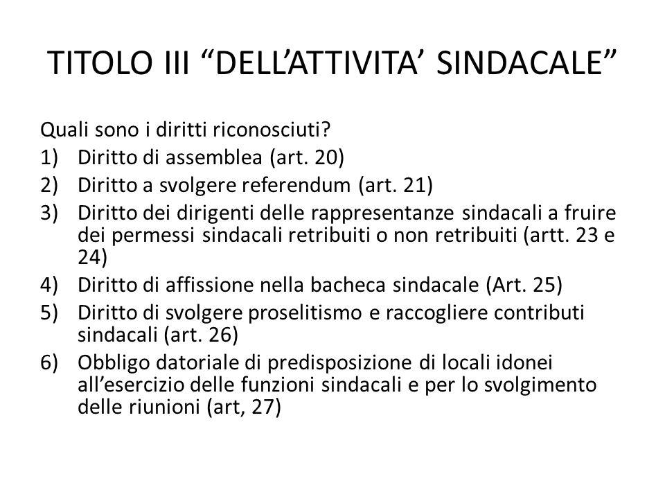 TITOLO III DELLATTIVITA SINDACALE Quali sono i diritti riconosciuti? 1)Diritto di assemblea (art. 20) 2)Diritto a svolgere referendum (art. 21) 3)Diri