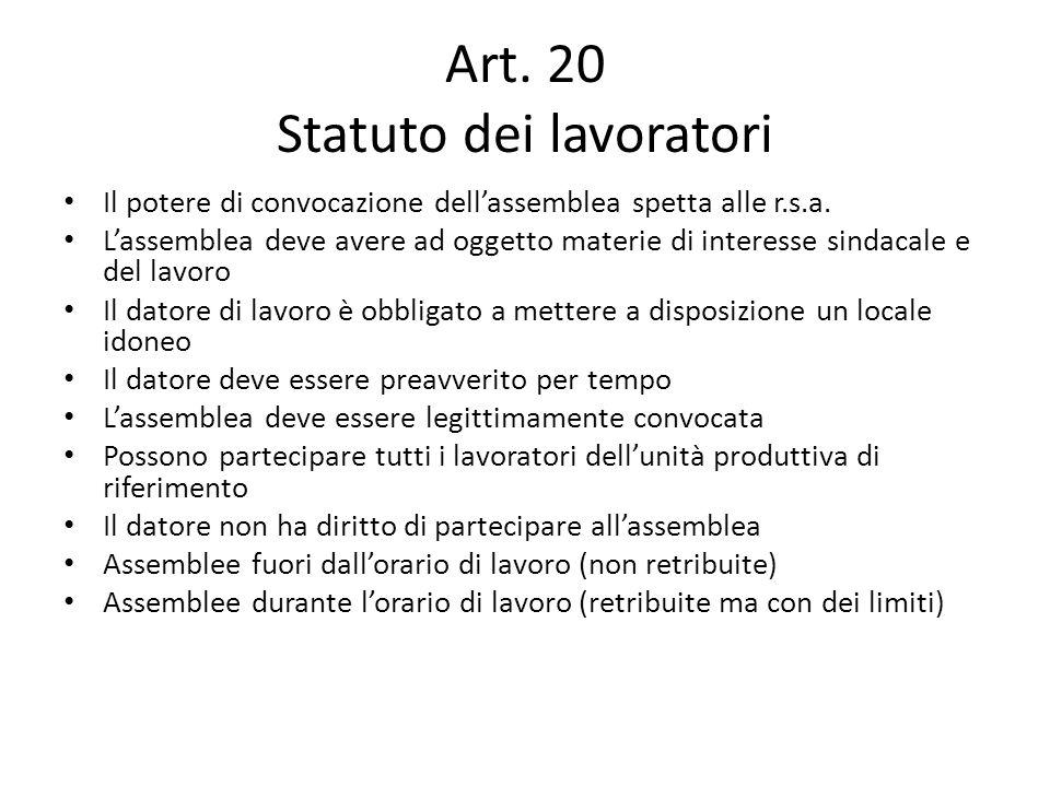 Art. 20 Statuto dei lavoratori Il potere di convocazione dellassemblea spetta alle r.s.a. Lassemblea deve avere ad oggetto materie di interesse sindac